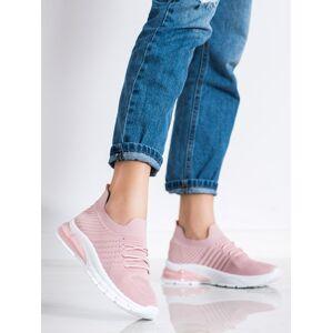Exkluzívní  tenisky růžové dámské bez podpatku 36