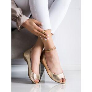 Exkluzívní zlaté dámské  lodičky bez podpatku 36