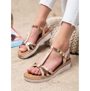 Exkluzívní zlaté dámské  sandály bez podpatku 38