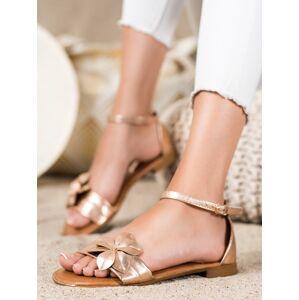 Exkluzívní zlaté  sandály dámské na plochém podpatku 36