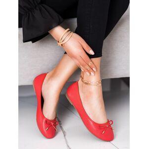 Jedinečné dámské  baleríny červené bez podpatku 41