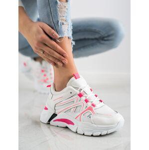 Jedinečné dámské bílé  tenisky bez podpatku 39