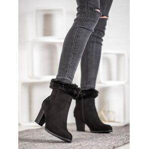 Jedinečné dámské  kotníčkové boty černé na širokém podpatku 36