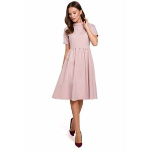 K028 Rolled neck fit and flare dress  EU M crepepink