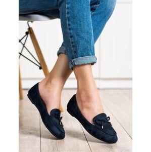 Klasické dámské modré  mokasíny bez podpatku 38