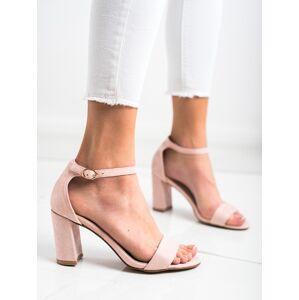 Klasické růžové  sandály dámské na širokém podpatku 39