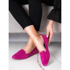 Komfortní  baleríny dámské růžové bez podpatku 38