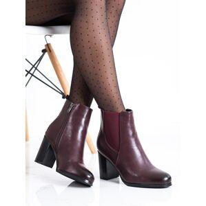 Komfortní červené dámské  kotníčkové boty na širokém podpatku 36