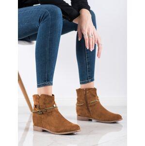 Komfortní dámské  kotníčkové boty hnědé na klínku 38