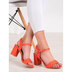 Komfortní dámské oranžové  sandály na širokém podpatku 37