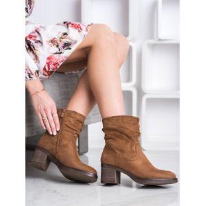 Komfortní  kotníčkové boty hnědé dámské na širokém podpatku 36