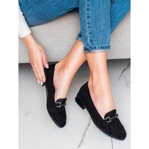 Komfortní  mokasíny dámské černé na plochém podpatku 36