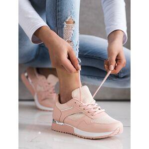 Komfortní  tenisky růžové dámské bez podpatku