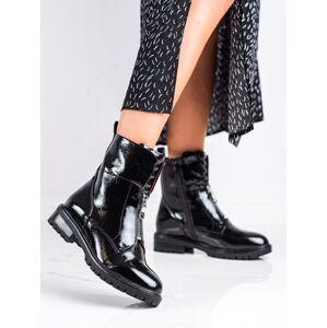 Krásné černé dámské  kotníčkové boty na plochém podpatku 36