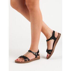 Krásné černé dámské  sandály bez podpatku 36
