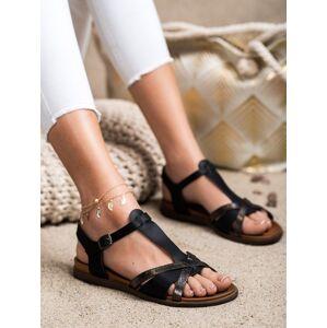 Krásné dámské černé  sandály bez podpatku 41
