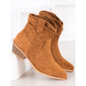 Krásné dámské hnědé  kotníčkové boty na širokém podpatku 41