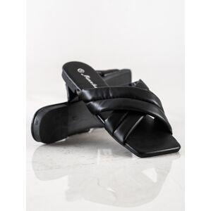 Krásné dámské  nazouváky černé na plochém podpatku 36