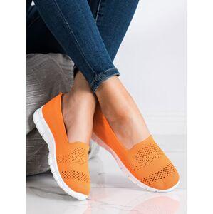 Krásné dámské oranžové  tenisky bez podpatku 36