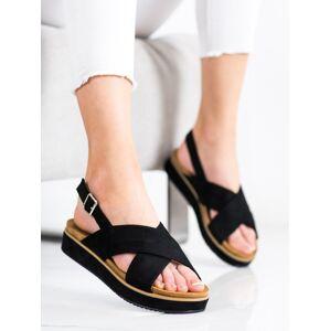 Krásné dámské  sandály černé bez podpatku 36
