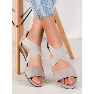 Krásné  sandály šedo-stříbrné dámské bez podpatku 41