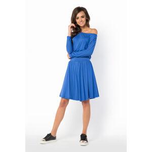 Letní šaty dámské ve volném střihu značkové středně dlouhé modré - Modrá - Makadamia královská modř L