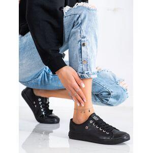 Luxusní černé  tenisky dámské bez podpatku 36