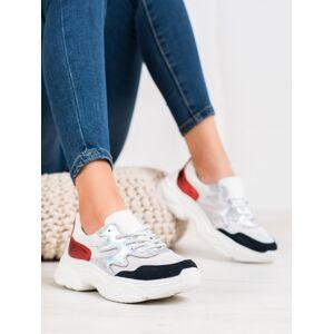 Luxusní  tenisky dámské bílé bez podpatku 38