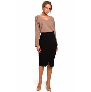 M454 Tužková sukně s ozdobnými knoflíky EU L Černá