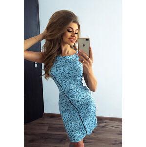 Světle modré šaty s lemovkouu a vzorem drobných květinek model 7086779 XS