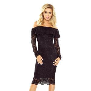 Černé krajkové šaty s dlouhým rukávem model 5352611 M