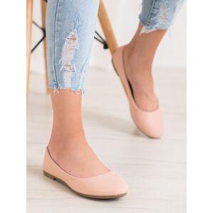 Moderní  baleríny růžové dámské bez podpatku 40