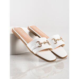 Moderní bílé dámské  nazouváky bez podpatku 36