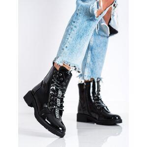 Moderní dámské černé  kotníčkové boty na plochém podpatku 36