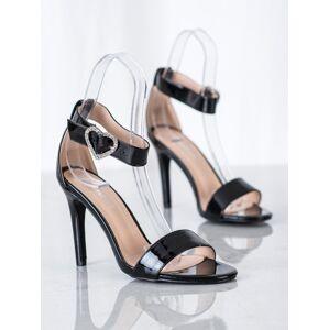 Moderní dámské černé  sandály na jehlovém podpatku 36