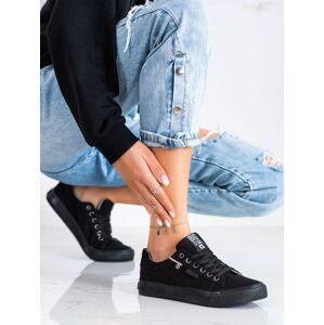 Moderní dámské černé  tenisky bez podpatku 36