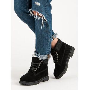 Moderní dámské  kotníčkové boty černé na plochém podpatku 38