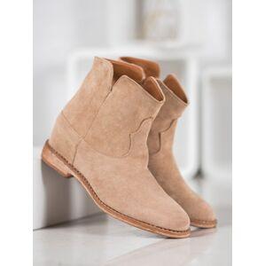 Moderní hnědé dámské  kotníčkové boty na klínku 39