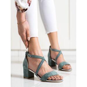 Moderní modré dámské  sandály na širokém podpatku 38