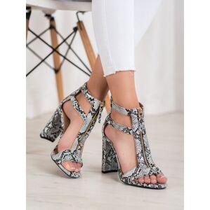 Moderní  sandály se zvířecím motivem dámské na širokém podpatku 38