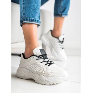 Moderní  tenisky dámské bílé bez podpatku 38