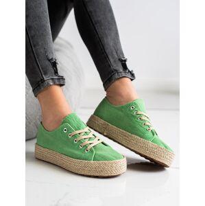 Moderní  tenisky zelené dámské bez podpatku