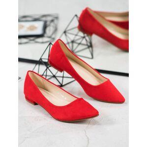 Módní  baleríny dámské červené bez podpatku 36