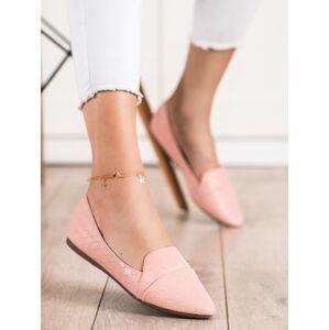 Módní  baleríny růžové dámské bez podpatku 37
