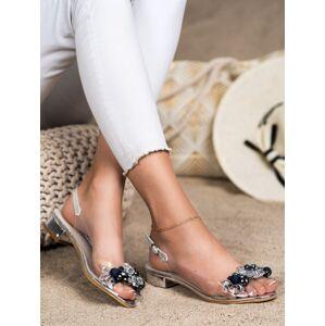 Módní dámské  sandály šedo-stříbrné na širokém podpatku 36