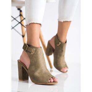 Módní  sandály zelené dámské na širokém podpatku 36