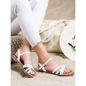Originální bílé dámské  sandály bez podpatku 36