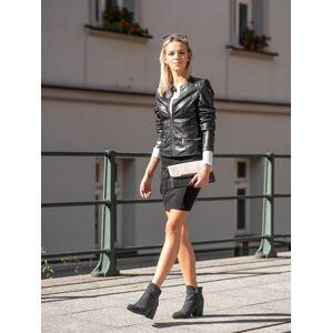 Originální dámské černé  kotníčkové boty na širokém podpatku 36