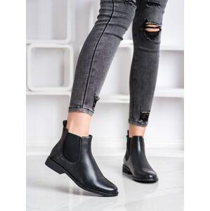 Originální  kotníčkové boty černé dámské na plochém podpatku 36