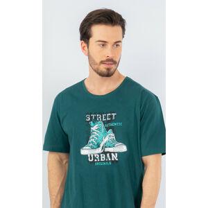 Pánská noční košile s krátkým rukávem Tenisky - Gazzaz tmavě zelená L